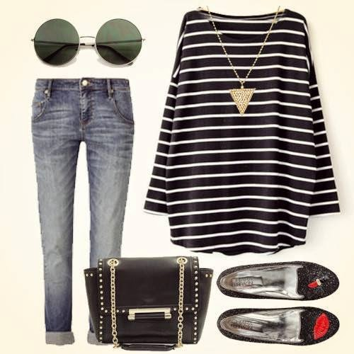 Black Long Sleeve Striped Loose