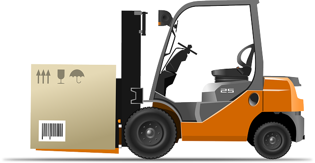 Forklift baru manual sedang mengangkut barang