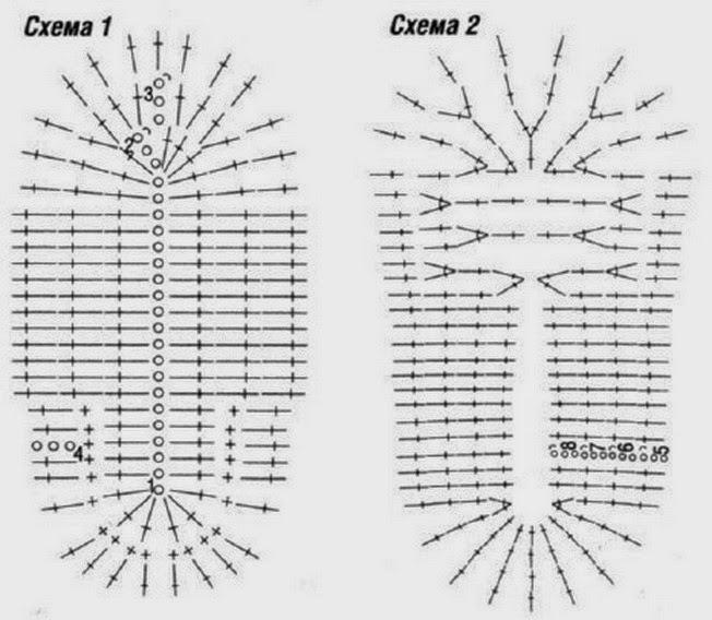 Схема вязания подошвы от пинеток крючком 562