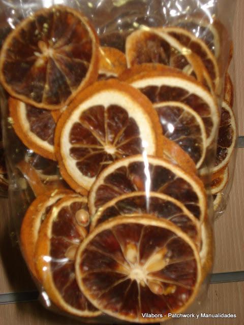 Láminas de naranja secas para decorar
