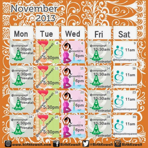 November Classes at BirthKuwait