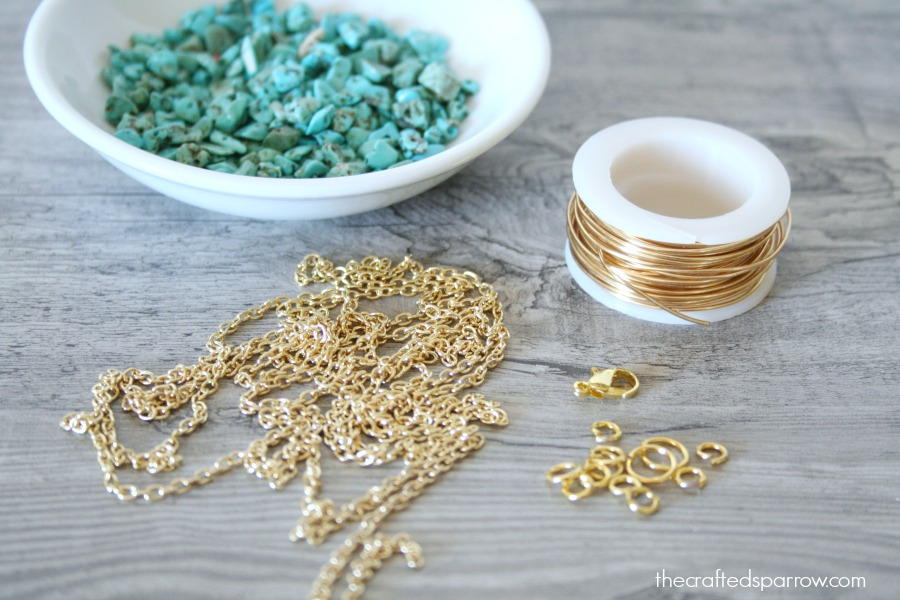 Diy simple turquoise necklaces the crafted sparrow diy simple turquoise necklaces aloadofball Image collections