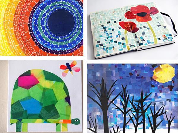 Manualidades hacer mosaicos materiales e ideas - Tipos de papel manualidades ...