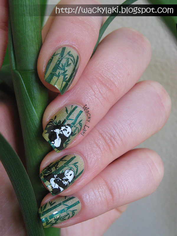 Wacky laki nail art with polished by kpt hot like wasabi holding my lucky bamboo which has grown to be practically my height prinsesfo Gallery