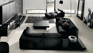 Living room black modern furniture