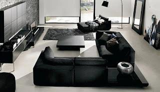 Living room black modern furniture