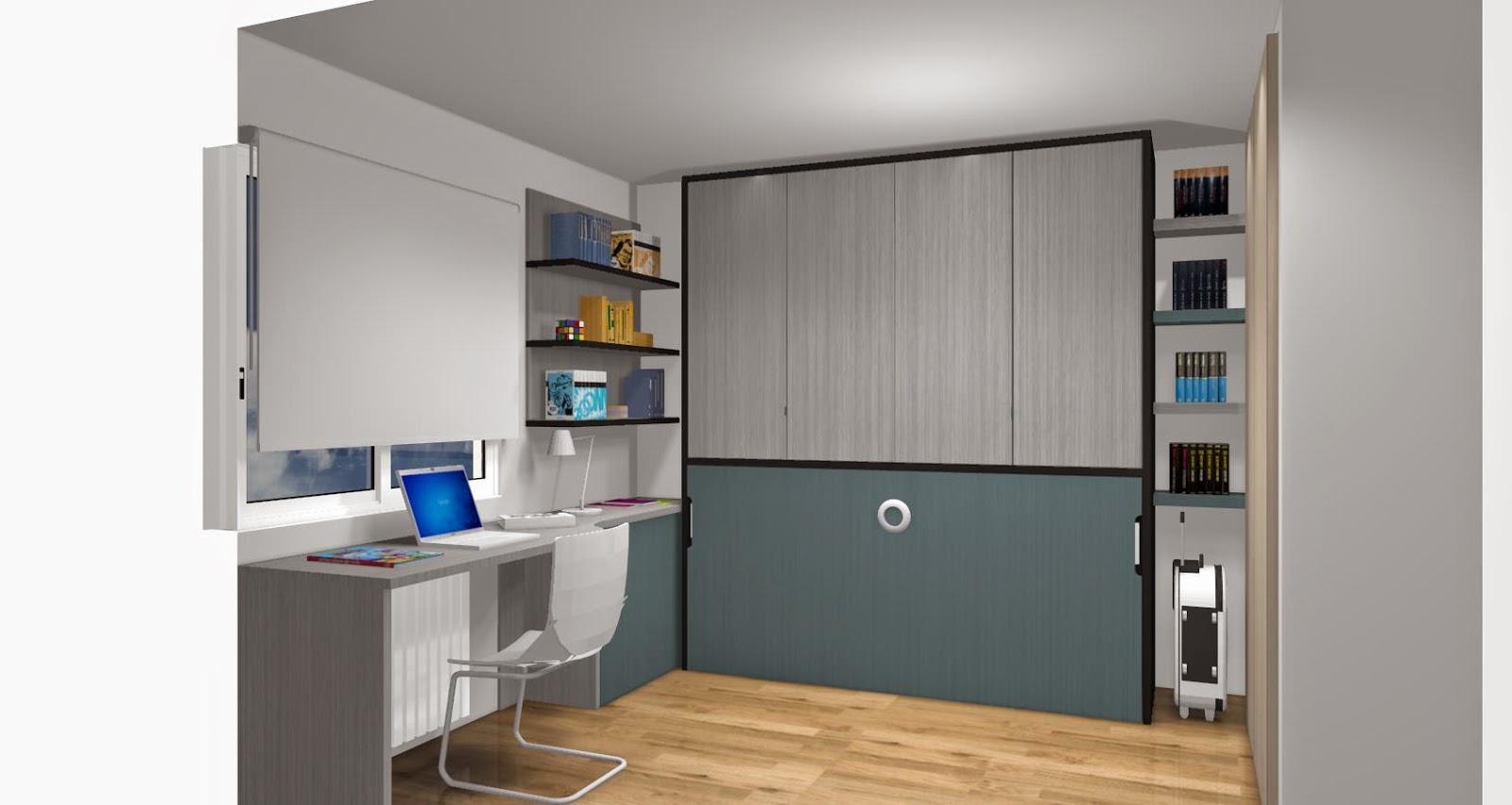 Dise o de cuartos o dormitorios juveniles - Habitaciones juveniles camas abatibles horizontales ...