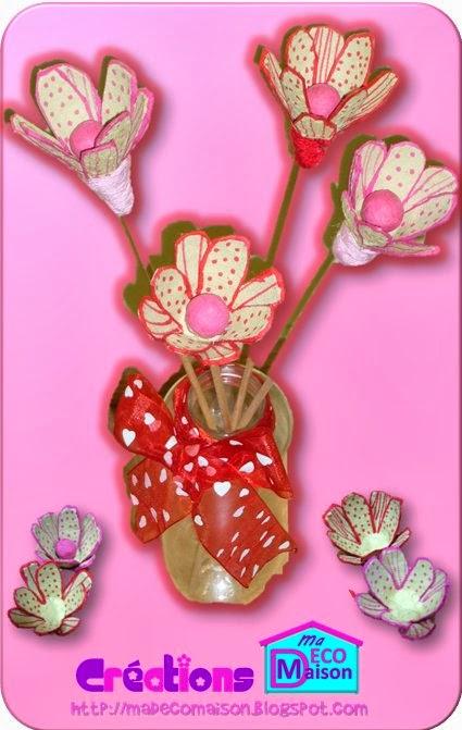 Fleurs faites avec du carton à oeufs