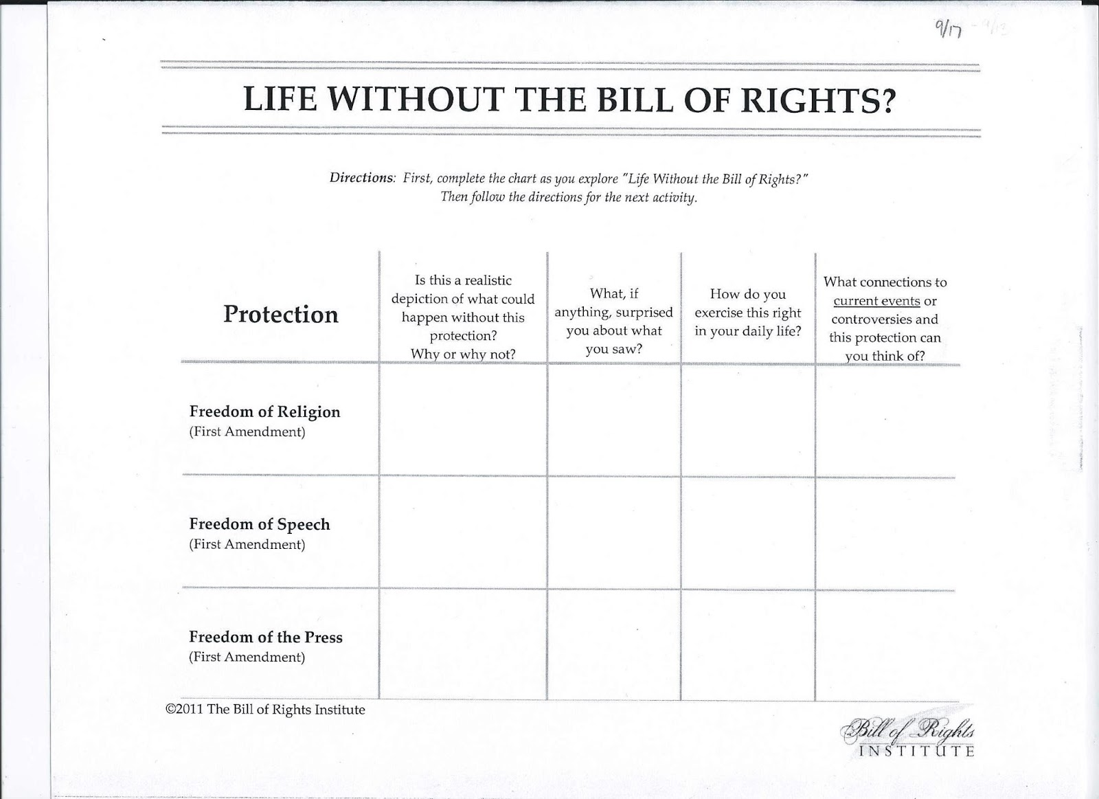 GMS 6th Grade Social Studies September 2013 – Bill of Rights Worksheets