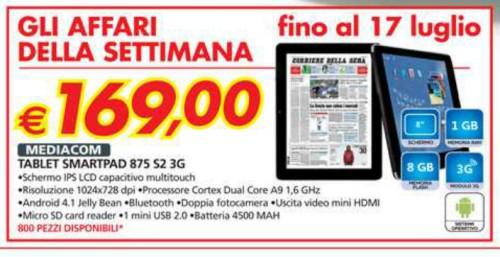 Auchan nel volantino di metà luglio fino al 17 vende in promozione il tablet da 8 pollici dual core Smart Pad 875 S2 a soli 169 euro