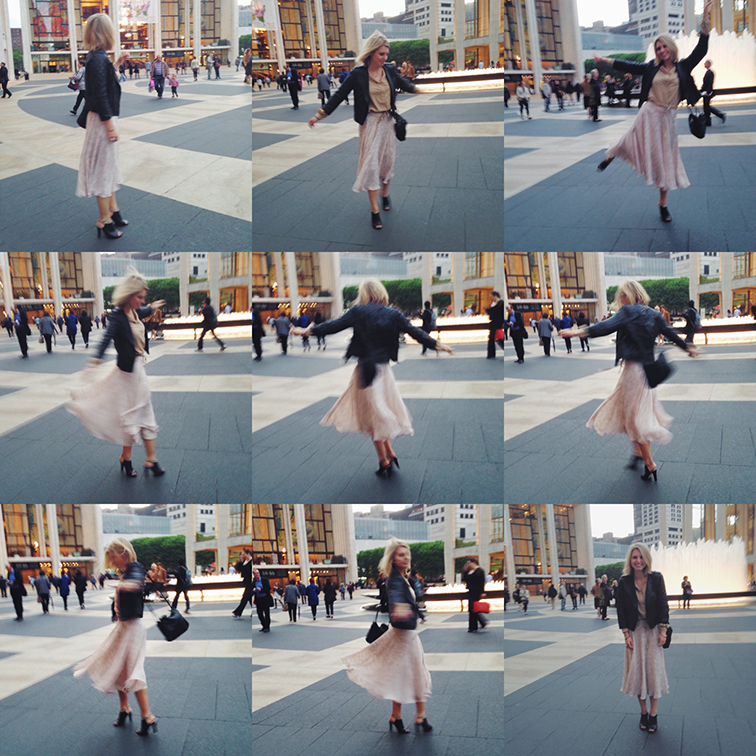 Faux ballerina twirl sequence, Lincoln Center, New York City Ballet, Ann Taylor flutter print flowy skirt, pastel, Whistles peep toe sandal booties, ASOS quilted leather bomber jacket, New York City