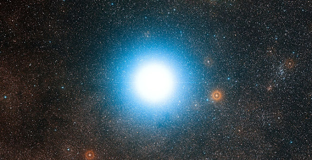 The bright star Alpha Centauri and its surroundings. Credit: ESO/Digitized Sky Survey 2. Acknowledgement: Davide De Martin
