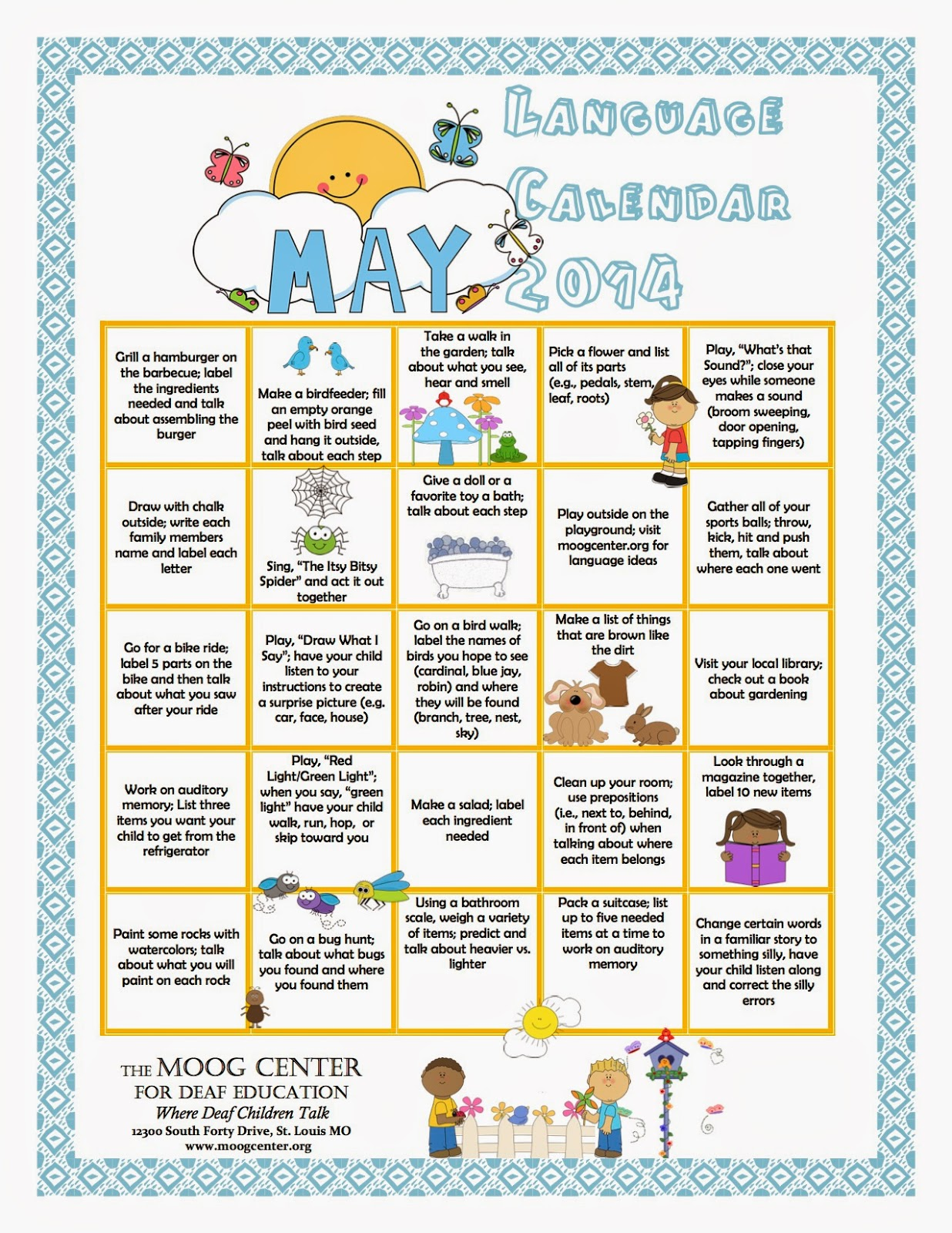 Calendar Ideas For May : Hearsaylw may listening and spoken language calendar