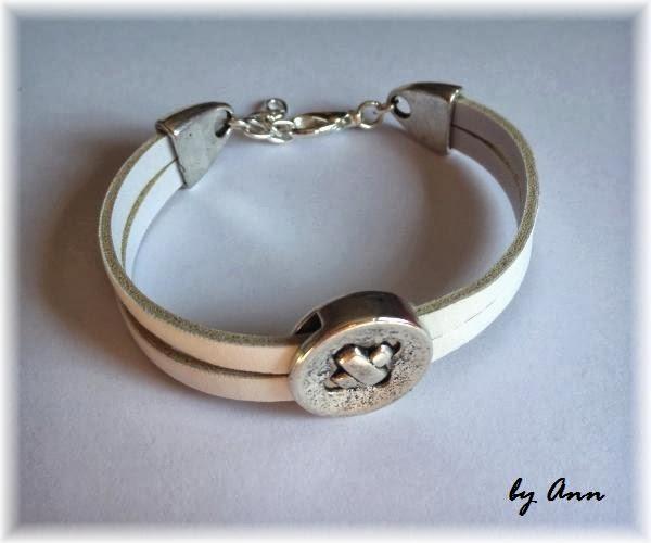 bransoletka z rzemieni sztucznych posrebrzany guzik
