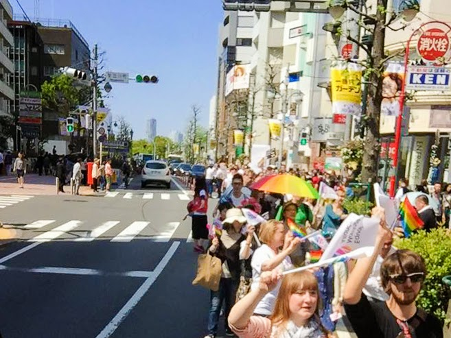 Tokyo Rainbow Pride 2015, marching down Omotesando, Japan.