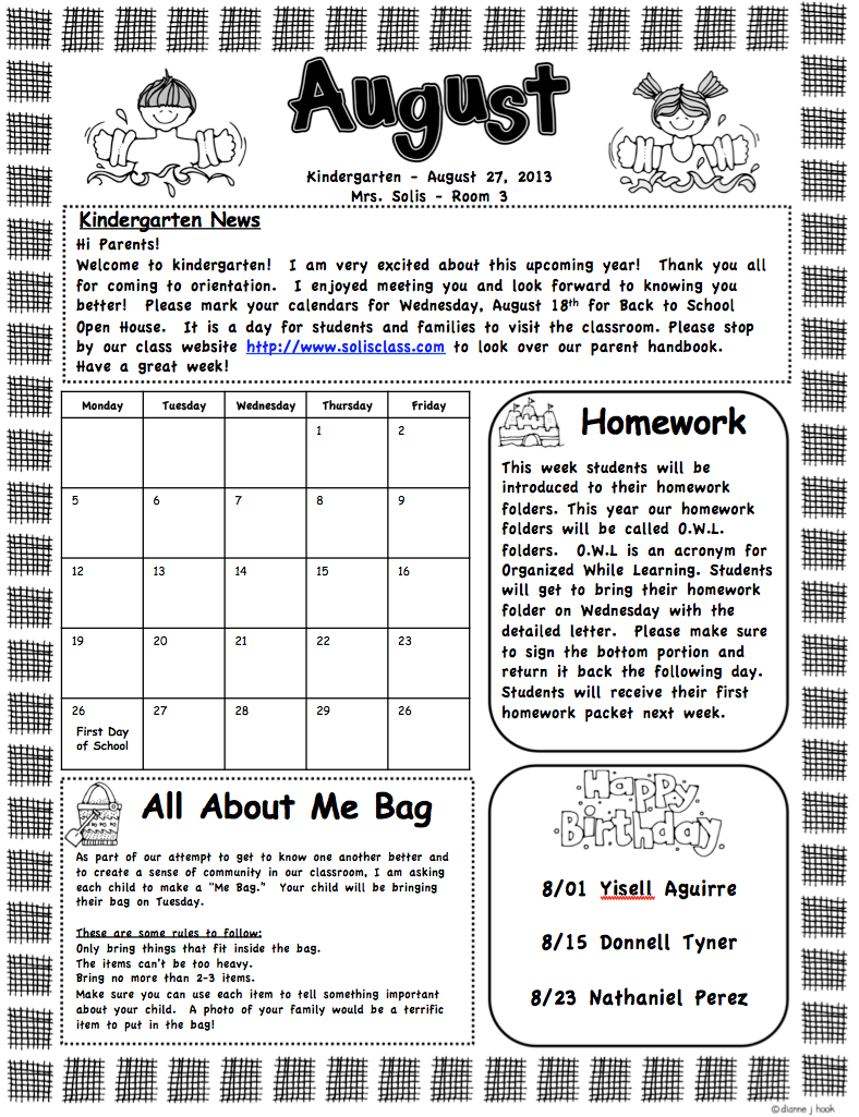 Mrs. Solis's Teaching Treasures: Monthly Newsletters (Editable)