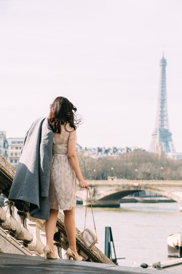 coco and vera, top paris fashion blog, iheartparis.fr photography, paris street style, eiffel tower, pont alexandre III, needle and thread dress, pfw, world mastercard fashion week
