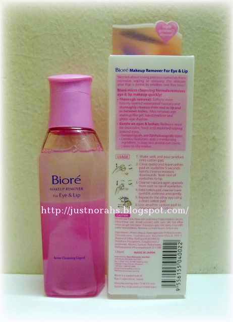This PINK bottle of Biore Makeup Remover for Eye& Lip is my current eye and lip makeup remover.