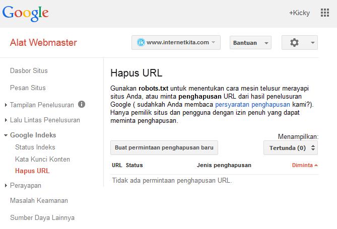 Menu Penghapusan URL Pada Webmaster