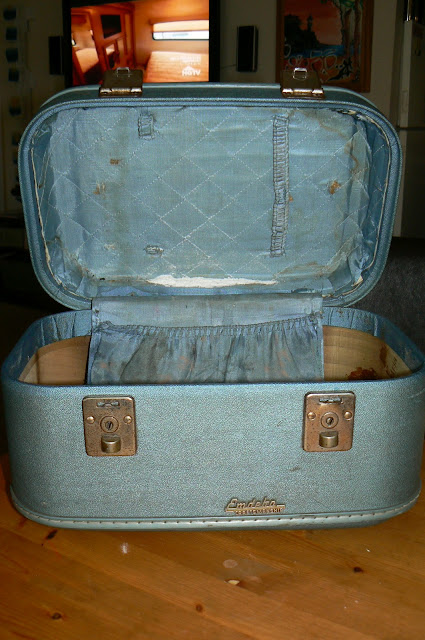 upcycled train case before