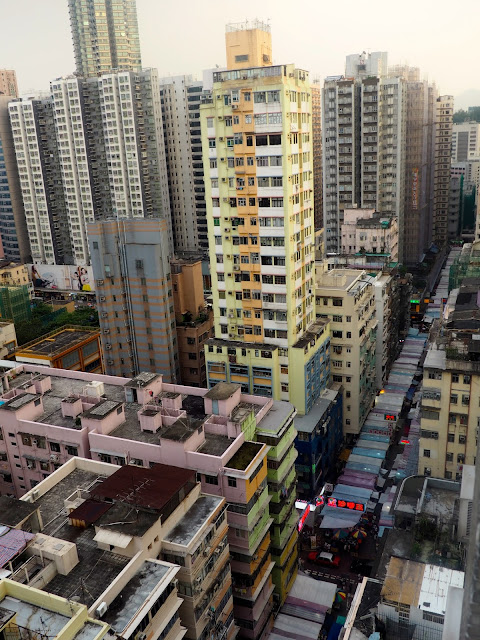 View of Ladies Market and the skyscrapers of Mongkok, Kowloon, Hong Kong