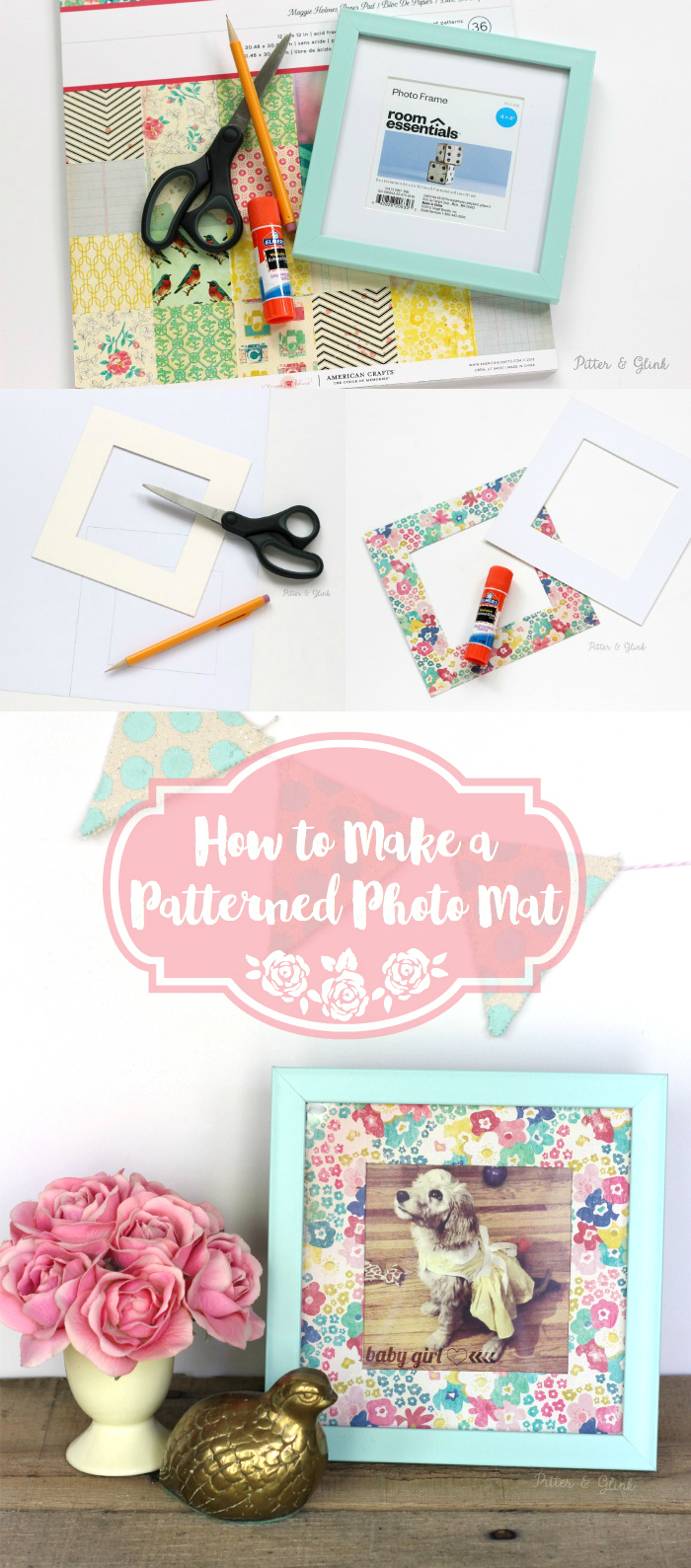 How to Make a Plain Photo Mat Pop Using Scrapbook Paper. www.pitterandglink.com