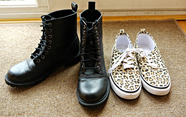 shoes black combat boots leopard print