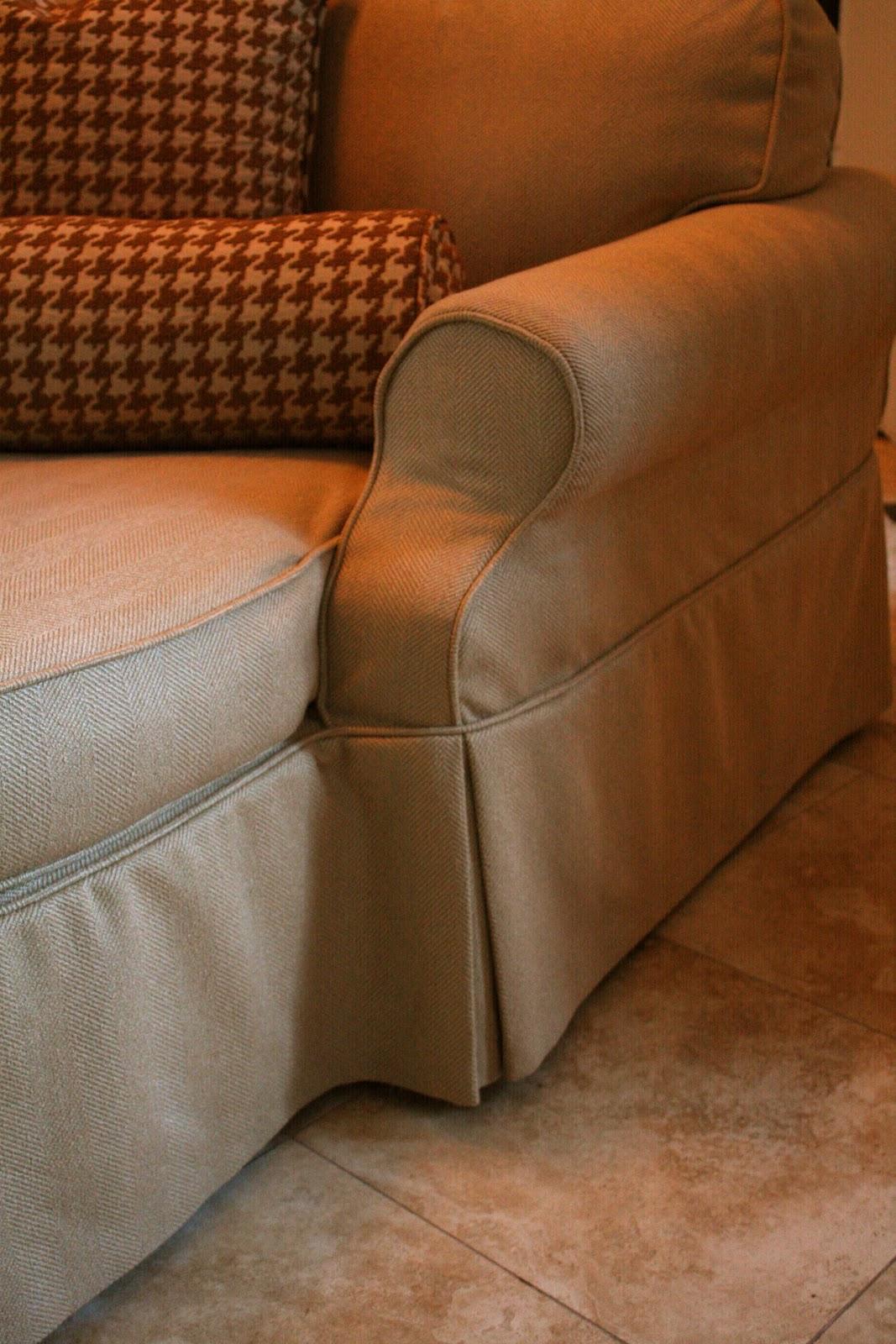 Custom slipcovers by shelley herringbone chaise lounge for Chaise lounge cushion slipcovers