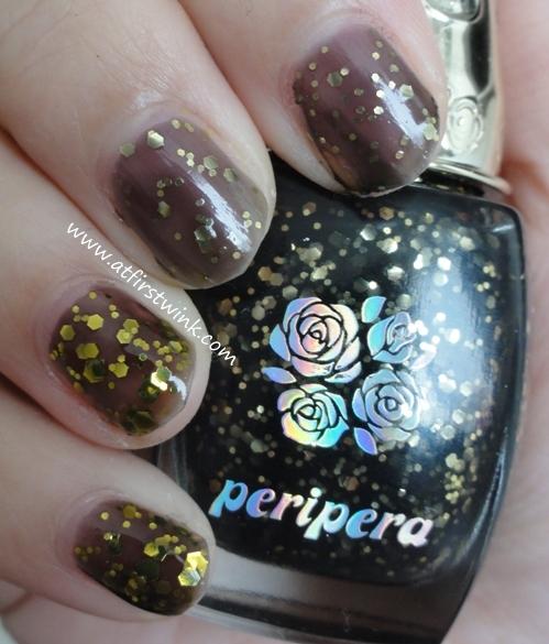 Modi nail polish 80 and Peripera nail polish BK504: one coat
