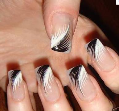 Makeup gallery nail art black and white feathery nail art with silver glitters prinsesfo Images