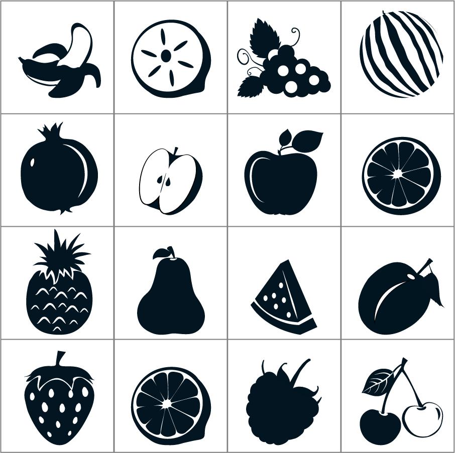 果物のシルエット アイコン Black Fruit Icons イラスト素材