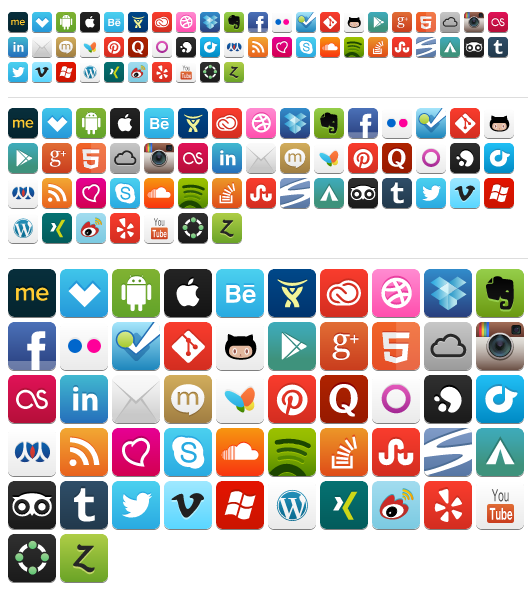 Awesome Social Media Icons all size