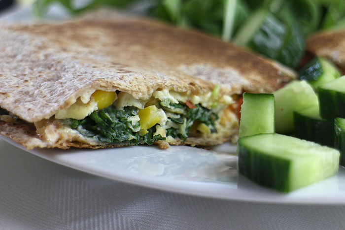 vegetarian lunch / brunch: omelette quesidilla