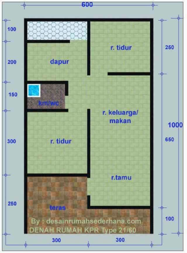 Denah Rumah KPR Minimalis Tipe 21