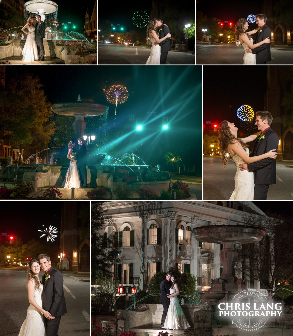 Wedding Couple in front of Bellamy Mansion during  Azalea Festival fireworks show - Wilmington NC Wedding Photographers