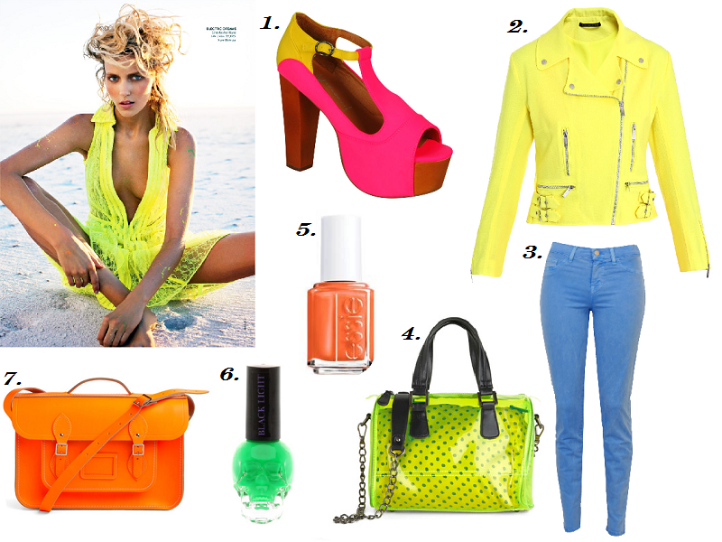 neon trend, collage, Jeffrey Campbell, Spring Summer 2012, Essie, J Brand, Christopher Kane