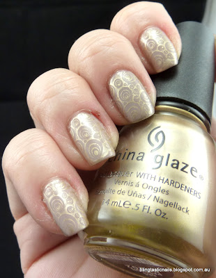 Nails Inc Porchester Square with China Glaze Passion stamping