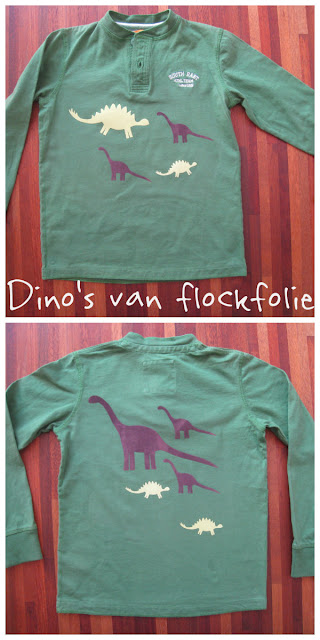 Shirt gepimpt met dinosaurussen van flockfolie applicaties