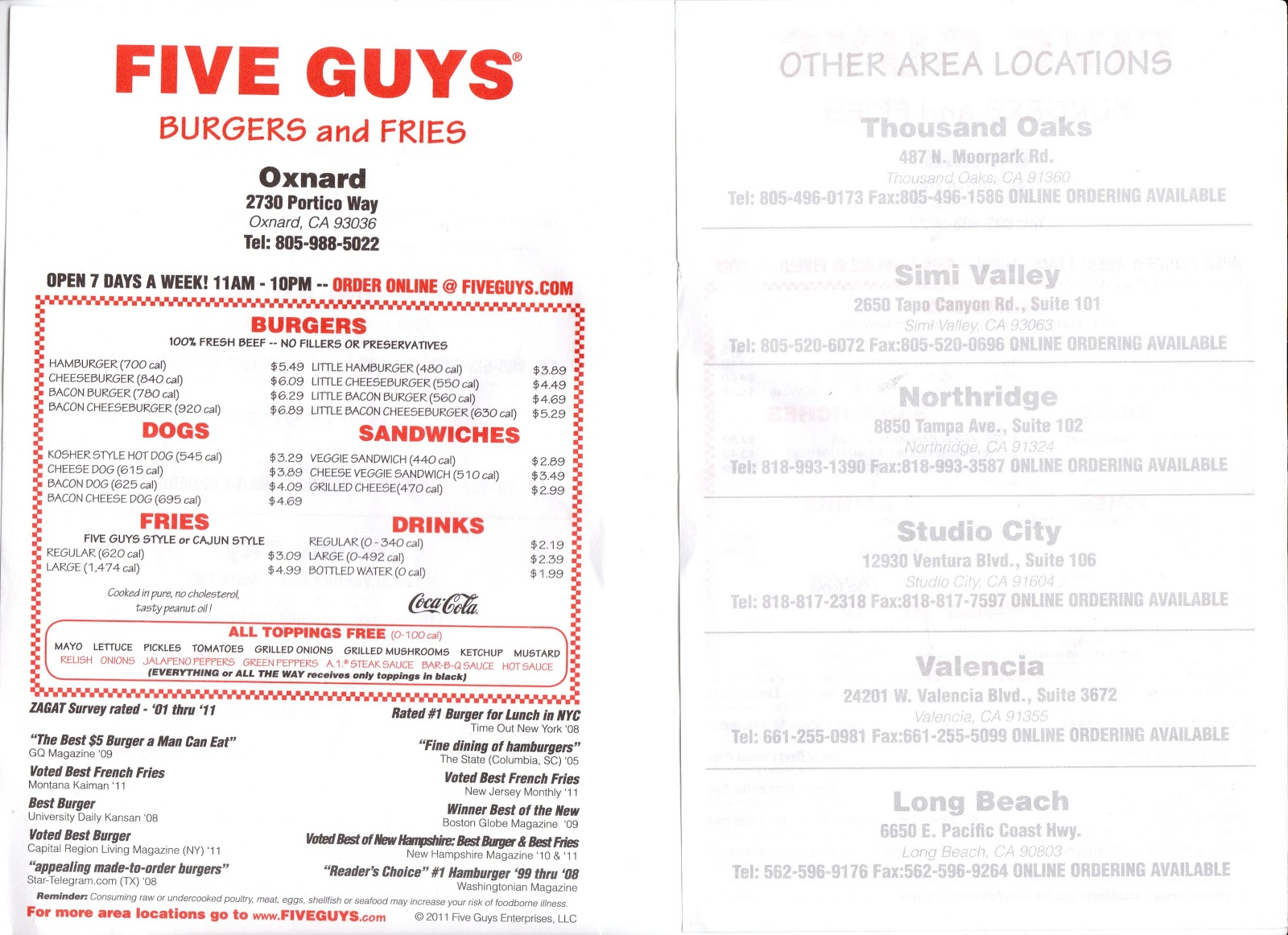 VC Menu: Five Guys Burgers and Fries - Oxnard, Thousand ...