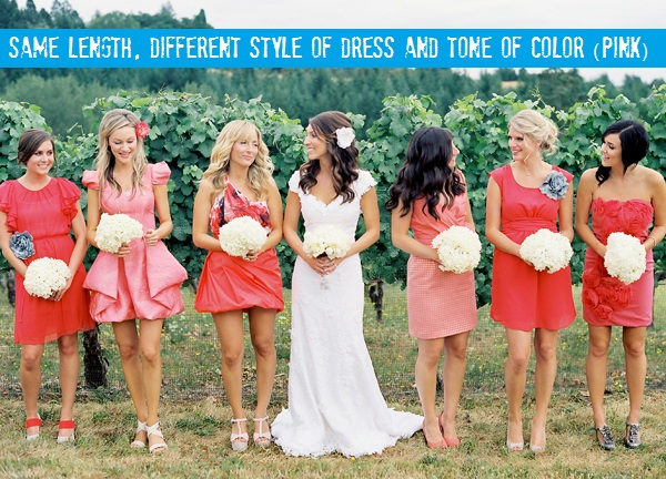 Coral Bridesmaid Dress And Brown Shoes