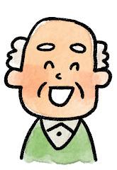 おじいさんの表情のイラスト(笑い)