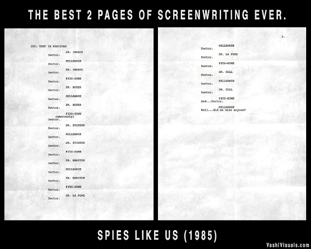 2 pages of the screenplay of 'Spies Like Us'