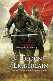 Cover of The Thorn of Emberlain, featuring two armour-clad figures wielding swords while a red flag waves in the background.