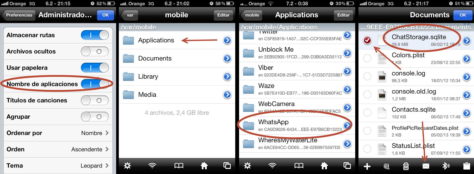 como recuperar archivos zap iphone