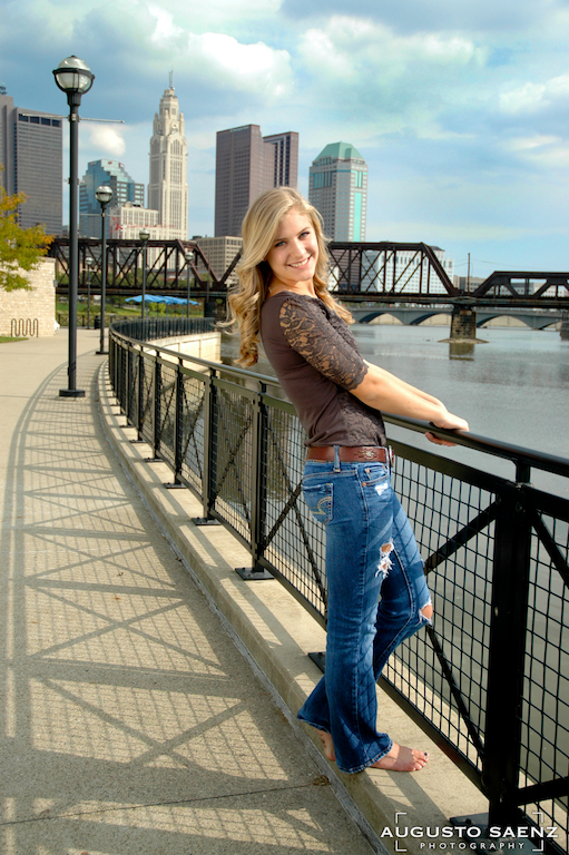 Senior Picture of Olivia By the Scioto River Columbus, OH