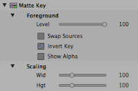 Invert Key parameter is selected in the Matte Key effect of the Avid Media Composer.