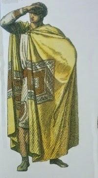 Alto funcionario, hacia el siglo V d.C. Paludamentum, la versión romana de la capa griega. Decorada con una pieza rectangular llamada tablion. El paludamentum terminó por reemplazar a la toga como símbolo de poder y dignidad