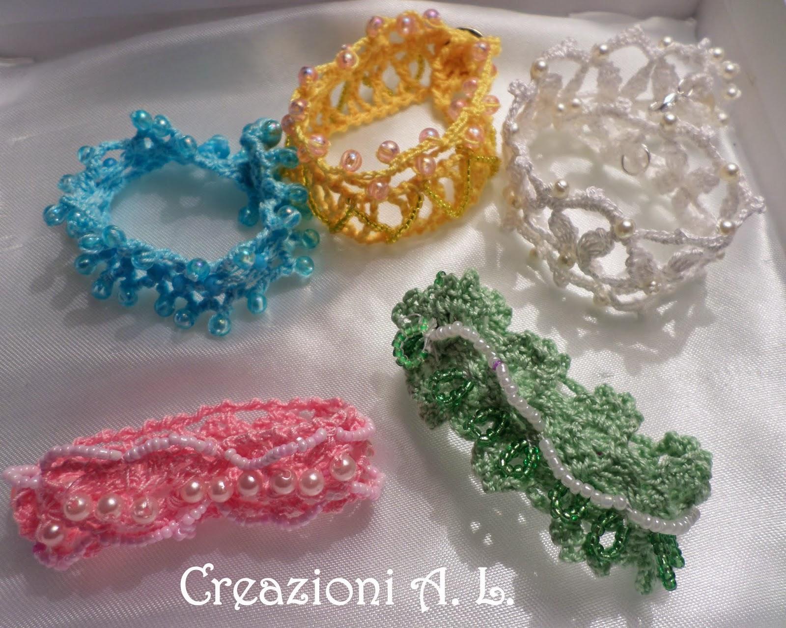 Amato Creazioni Crochet A. L.: Bracciali crochet e perline HV85