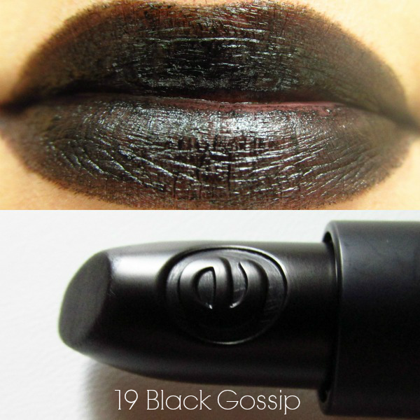 essence longlasting lipstick 19 Black Gossip swatch
