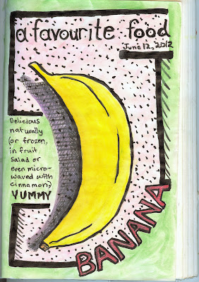 Pen and ink with watercolour stylized banana rendered by ©Ana Tirolese